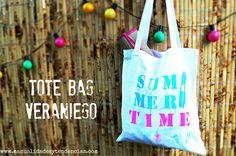 Tote bag playero personalizado www.manualidadesytendencias.com #manualidades #bolsos #craft #pintura #textil #fabric #paint #summer #verano #diy #stencil #plantilla