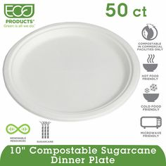 """Eco-Products Compostable Plate 10"""" White -50ct for $12.39!"""