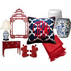 """Blue and white... and red. Chinoiserie at its finest."" by meganbudge on Polyvore. www.thepillowtalk.com Monogram pillows, chinoiserie decor, pagoda mirror, ginger jars, red and blue."