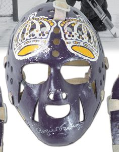 Next Halloween, you're going out as Rogie Vachon — with all original stuff Hockey Goalie Gear, Hockey Players, Ice Hockey, Montreal Canadiens, Nhl, Goalie Pads, Hockey Room, Hockey Stuff, Masked Man