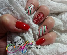 Christmas nail art - gel polish, gel paint and stamping (Konad stamping Plate No 10 square)