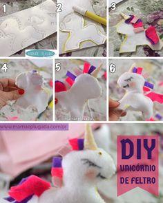Passo a passo DIY Unicórnio em Feltro para decorar festa infantil