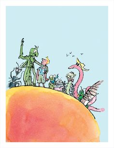 James and his new insect friends stand on top of their giant peach. Framed art print from illustrator Quentin Blake.
