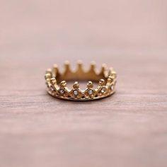 Rhinestone Crown Ring   Simple & Dainty-Dainty Rings-Sweet Bee Boutique