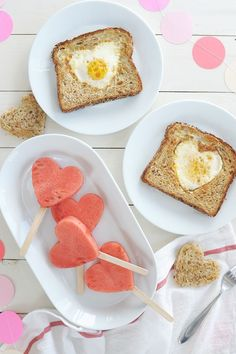 Heart-shaped eggs in a hole and watermelon pops make a very cute Valentine's Day breakfast for the family. day decorations cafe Easy Kids Valentine Breakfast - Alice and Lois Quotes Valentines Day, Valentines Day Treats, Valentines For Kids, Valentine Desserts, Breakfast For Kids, Best Breakfast, Alice, Cake Pops, Valentines Breakfast