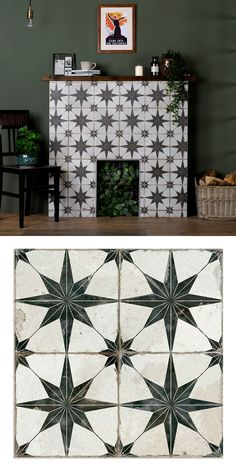 These Scintilla Black Star Pattern Tiles are ideal for creating a striking statement floor in any interior space. They have an aged effect for a vintage look. Victorian Fireplace Tiles, Vintage Fireplace, Victorian Tiles, Wood Burner Fireplace, White Fireplace, Fireplace Design, Tiled Fireplace, Modern Victorian Decor, Black And White Tiles