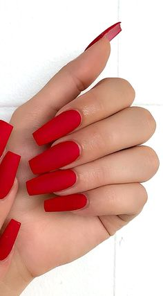 30 Acrylic, Polish, Matte and Simple Red Nail Designs. Web Page 21 30 Acrylic, Polish, Matte and Simple Red Nail Designs. Red Matte Nails, Red Acrylic Nails, Coffin Nails Matte, Matte Nail Polish, Summer Acrylic Nails, Red Polish, Nail Nail, Red Tip Nails, Nail Red