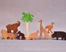 Zoo Animal Play Set Wooden Blocks Toys for Kids, Boys Girls  Waldorf Childrens Toy Organic Gifts Giraffe Elephant Lion Monkey Kangaroo Hippo