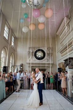 Balloons, helium, long ribbon, who needs to tack anything on the ceiling? cool shot @ 100 of the Most Inspiring Wedding Pins Ever!