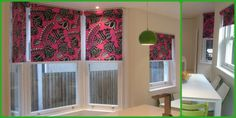 Stunning kitchen roller blinds made with the client's own choice of Designer's Guild fabric.