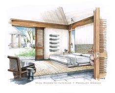 Hawaii Resort Bedroom Rendering by Mick Ricereto