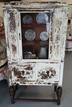 Industrial China cabinet - Beautiful Vintage Cream Milk Painted China Cabinet with Old Barn Milk Paint for a Old Chippy Look. Decor, China Cabinet, Painted Furniture, Glass Cabinet Doors, Furniture, Milk Paint, Vintage China Cabinets, Painting Cabinets, Home Decor
