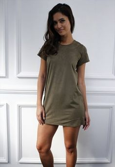 Womens Ladies faux suede short sleeve  Shift Mini Dress