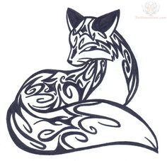 Sitting Fox Tribal Tattoo Design