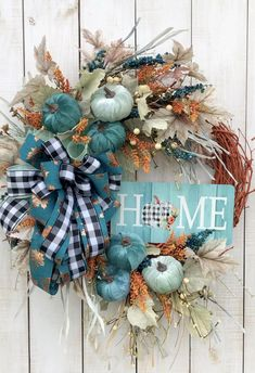 "Fall wreath for front door porch home wall decor, farmhouse buffalo plaid and Teal Bow, ""HOME"" sign, light and  dark teal pumpkins Blue Fall Decor, Fall Home Decor, Home Wall Decor, Elegant Fall Wreaths, Elegant Fall Decor, Farmhouse Fall Wreath, Country Farmhouse Decor, Teal Pumpkin, Thanksgiving Wreaths"