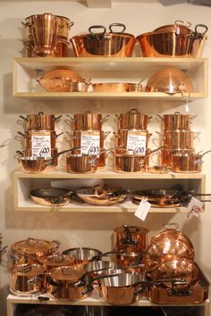 Mauviel brass copper cook wear.   Oh yes, my dream is coming true!! It will be mine!! All mine!!