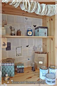 ikea cabinet turned craft center, craft rooms, kitchen cabinets, Decoupage boxes hold crafting supplies They look pretty sitting inside or even outside of the cabinet A small mason jar holds buttons
