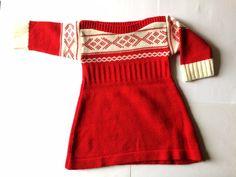 ROBE jacquard Rouge | vintage | bébé fille | vêtement enfant hiver | années 70 | taille 3 mois / 60 cm | etsy
