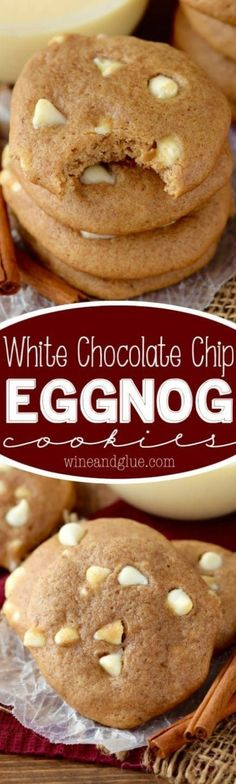 Awesome Eggnog Recipes These White Chocolate Chip Eggnog Cookies are full of sweet spices and delicious eggnog taste! Chewy, soft, and delicious! Köstliche Desserts, Holiday Cookies, Holiday Baking, Christmas Desserts, Delicious Desserts, Dessert Recipes, Christmas Candy, Simple Christmas, Eggnog Cookies