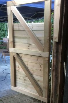 49 Fascinating Small Backyard Landscape Designs To Your Garden Upgraded the door of our garden shed Garden Huts, Garden Shed Diy, Wood Fence Gates, Small Backyard Landscaping, Backyard Designs, Shed Makeover, Shed Doors, Bike Shed, Chinese Garden