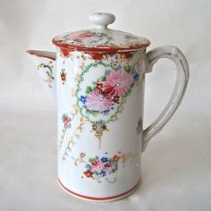 Antique Hand Painted Chocolate Pot