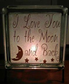 "5"" Glass Block Glitter Night Light with ""I Love You to the Moon & Back"" quote. Choose your own colors.    Indicate glitter color and vinyl color choice in the Comments section at check out."