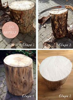 Creative Tree Trunk Solutions for Warm and Modern Look for Your Home Tree Stump Furniture, Trunk Furniture, Creation Deco, Tree Trunks, Decoration, Home Crafts, Diy Projects, Creative, Home Decor