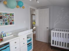 Ikea Expedit console with feet and drawers for changing table