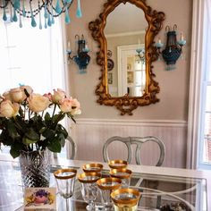 vintage lighting and mirror in my dining room