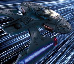 At last, Riker gets his command! The USS Titan at warp.