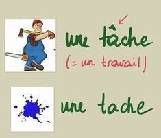Une tâche / une tache French Teacher, French Class, French Lessons, Teaching French, French Language Course, French Language Learning, French Phrases, French Quotes, How To Speak French