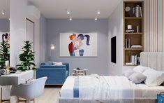 Спальня серо-белая для молодой пары, родительская спальня