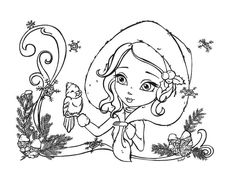 Blank Coloring Pages, Coloring Sheets, Coloring Books, Fairy Coloring, Chibi, Outline Drawings, Snow Angels, Snowy Day, Digi Stamps