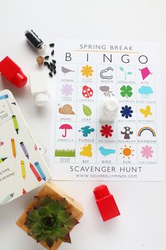 Keep the kiddos entertained this spring break with this printable spring break bingo scavenger hunt sheet   Squirrelly Minds