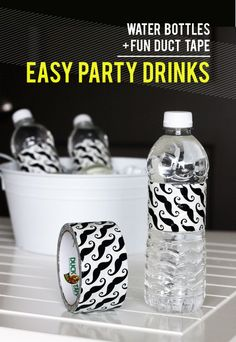 Use Duct Tape as Water Bottle Wraps. Use a solid color and write names on them to cut back on waste