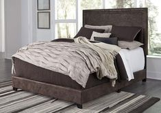 Give your bedroom an ultra-contemporary makeover with the Dolante Brown Queen Upholstered Bed Set. Upholstered Platform Bed, Upholstered Beds, King Beds, Queen Beds, King Queen, Bedroom Sets, Bedding Sets, Bedrooms, King Bed Headboard