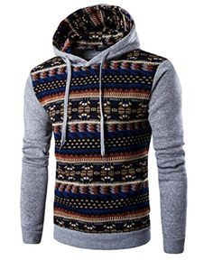 CeRui Men's Printing Pullover Sweater Stitching Hoodie Sweatshirts Light Gray XL -- Awesome products selected by Anna Churchill