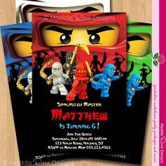 Ninjago Invitation - Birthday Party Printable Invite - You-Print Custom Personalized Digital Photo Card 4x6 or 5x7. $5.00, via Etsy.