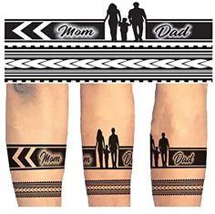 Mom Dad Tattoo Designs, Mom Dad Tattoos, Band Tattoo Designs, Father Tattoos, Family Tattoo Designs, Armband Tattoo Design, Temporary Tattoo Designs, Men Finger Tattoos, Band Tattoos For Men