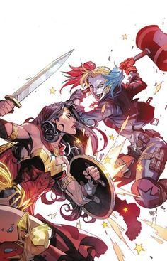 "dcuniversepresents: ""Wonder Woman Vs Harley Quinn by Joe Madureira "" Joe Madureira, Marvel Girls, Comics Girls, Harley Quinn, Joker And Harley, Arte Dc Comics, Comic Books Art, Comic Art, Book Art"