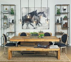 Bookshelves and small buffet instead of long/large buffet?  Love the pendants!