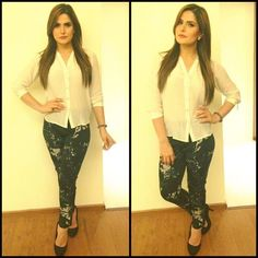 Zareen Khan wearing a white coloured shirt and appliqued cigarette pants embellished with swarovski crystals by designer Nikita Mhaisalkar for a st Bollywood Female Actors, Bollywood Celebrities, Bollywood Fashion, Bollywood Actress, Zarine Khan, Indian Celebrities, Celebrity Outfits, Indian Fashion, Fashion News