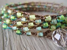 "Spring Green crochet wrap bracelet necklace ""RainForest"", mint green, seafoam, lime, blue, surfer chic beach boho"