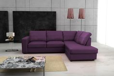 Purple Leather Corner Sofa for Latest Modern Living Room Design Trends