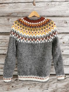 Icelandic Sweaters, Fair Isle Knitting Patterns, Everyday Outfits, Men Sweater, Nepal, Wool, Crochet, Quilts, Crafts