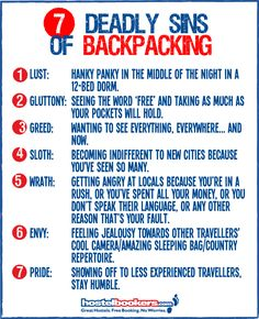 7 Deadly sins of Backpacking #Humour
