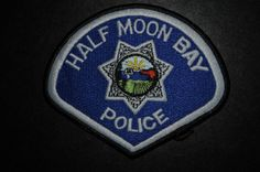 Half Moon Bay Police Patch, San Mateo County, California (Vintage 1987 Issue - Defunct Agency - Department disbanded in 2011, city contracts police services from San Mateo County Sheriff)