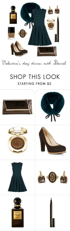 """SWD Blood In Roses  - dinner with Daniel"" by thatshippertypefangirl ❤ liked on Polyvore featuring Jimmy Choo, Oscar de la Renta, BCBGMAXAZRIA, Elie Saab, Judith Ripka, Tom Ford, LORAC and Butter London"