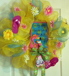 Deco Mesh Beach Wreath with Sign, Flip Flops, Swan, Yellow Pink Blue, Ribbon Bow, Beach Decor, Front Door Wreath
