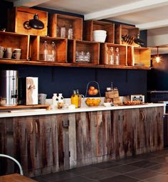 Kitchen with beautiful rustic cabinets